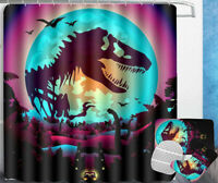 Jurassic World 4PCS Bathroom Rugs Set Bath Mat Shower Curtain Toilet Lid Cover