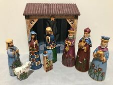 Jim Shore Enesco Heartwood Creek 9 Pc MINI FOLKLORE NATIVITY SET With Crèche