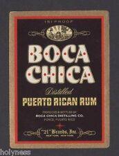 VINTAGE RUM LABEL / RON BOCA CHICA / 151 PROOF / PONCE PUERTO RICO / MINT