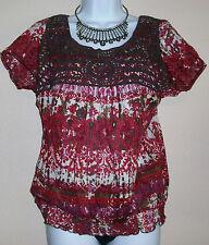 Tribal Print Women's beaded Blouse Elastic waist shirt Earth Tones Short sleeve