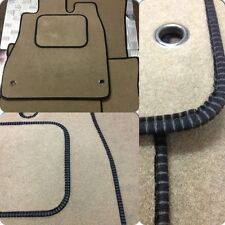 Perfect Fit Beige Carpet Car Floor Mats for Nissan Micra 02> - Black Ribb Trim
