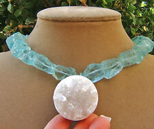 AQUA BLUE QUARTZ NECKLACE DRUZY frost WINTER ICE BIG ROUND CRYSTAL PENDANT BIG