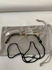 LESEBRILLE Groß,Randlos +2,00 Dptr.Metall Gold Brillenband u Microfasersäckchen