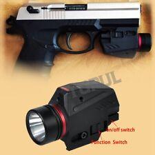 Tactical LED Flashlight Red Laser Sight Combo For 20mm Rail Mini Glock Pistol