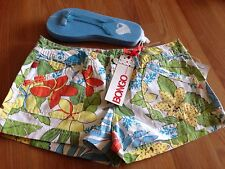 Juniors Size 9 Blue White Tropical Floral Print Bongo Shorts & Flip Flops Shoes