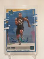 2020 Donruss Rated Rookie Joe Reed Canvas Parallel Auto 47/49 SSP LA Chargers