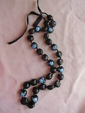"""Black Kukui Nut Necklace From Hawaii With Turquoise Flowers 32"""" long VGC"""