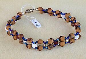 Blue & White Beaded NAVAJO Bracelet GHOST Beads #06