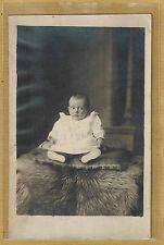 Carte Photo vintage card RPPC bébé robe Deniel Le Havre bd de Strasbourg ph0297