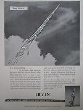1/1956 PUB IRVING AIR CHUTE IRVIN PARACHUTE RECOVERY GUIDED WEAPON ORIGINAL AD