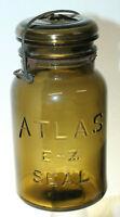 ATLAS E-Z SEAL AMBER FRUIT JAR QUART