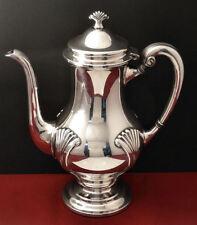 Tuttle Silver Plated ONSLOW Coffee Pot Coffeepot #6000 Art Deco Fan Design