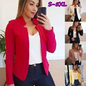 Women Ladies Slim Solid Blazer Suit Bomber Jacket Coat Casual Outwear Plus Size