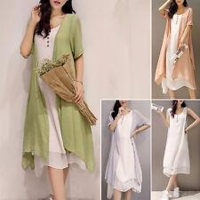 2 in1 Women Cotton Linen Plus Size XXXXXL Loose A Line Sundress Long Tank Dress