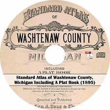 1895 Atlas of Washtenaw County, Michigan - MI History Genealogy Maps Book on CD