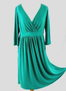 ARLENE PHILLIPS Crossover Midi Dress 14 Green Empire Waist 3/4 Sleeve Party