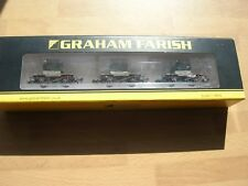 Graham Farish by Bachmann 377-335 3 Conflats + AF Blue Containers W. Mint Boxed