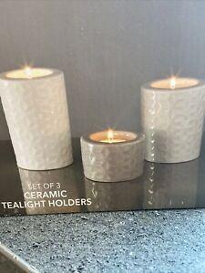Set Of 3 Ceramic Tealight Holders/decorative Tealight Holders NEXT