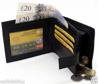 Mens Real Leather Wallet Credit Card Holder With Zip Coin Purse & ID Window 44