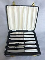 VGC Art Deco Cased Set 6 Viners Carved Mother of Pearl Handle Tea Butter Knives