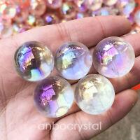White Rainbow Aura Sphere Titanium  Quartz Crystal Ball Healing 5PCS