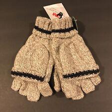 Men's Thinsulate 3M Thick Wool Knitted Half Mitten Suede Palm Gloves Beige XL