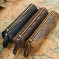 Handmade Cowhide Leather Pen Pouch Zipper Pencil Case Stationery Storage Pen Bag