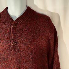 London Fog Vintage Chunky Wool Sweater USA Mens XLT Burgundy Long Sleeve Button