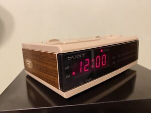 Vintage 80s Sony Dream Machine Alarm Clock Radio Simulated Walnut ICF-C3W
