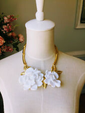 Oscar De La Renta White  Resin Flowers Statement Necklace Signed