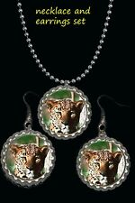 leopard wildlife animals earring Earrings and necklace set great gift