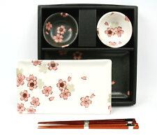 Sushi-Set SAKURA NISHU hergestellt in Japan 2 Sushi Teller 2 Schalen 2 Stäbchen