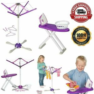 Kids Laundry Set Childrens Ironing Board Washing Line Iron Hangers Pretend Toy