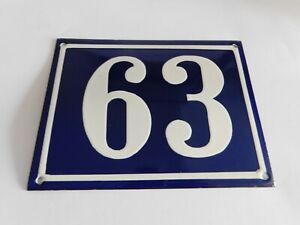 """Blue Vintage French Street House Name Number 63 - Enamel Porcelain Sign 7 x 5.5"""""""