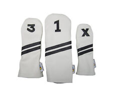 Sunfish Leather golf headcover set - DR, FW, HB - White with black stripes !