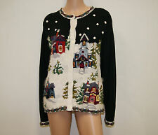 Vintage Black White Ugly Christmas Winter Cardigan Sweater Size Large