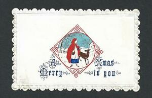 Y42 - RED RIDING HOOD & WOLF - SULMAN FINE EARLY PRINTING - VICTORIAN XMAS CARD
