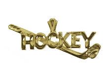 Hockey Stick Puck Pendant Player Charm Real 10K Yellow Gold Jewelry New Sports