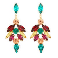 Beautiful Fashion Retro Rhinestone Large Chandelier Earrings-Multi