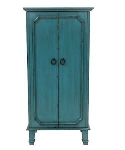 Antique Blue Jewelry Mirrored Armoire Box Distressed Standing 7 Drawer ASSEMBLED