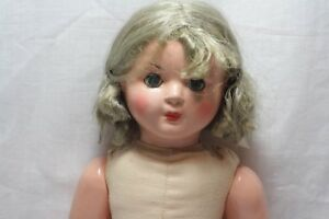 Rare Old antiques vintage wig doll papier mache girl lady 38cm/15 inch