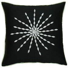 Black Floral Embroidered Poly Dupion Pillow Cover Square Decorative Cushion Case