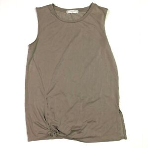Tresics luxe sleeveless tie botton tank top taupe grey-brown size medium