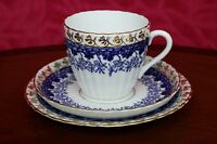 COBALT BLUE AND GOLD Trio  Tea Cup Saucer Plate STANLEY