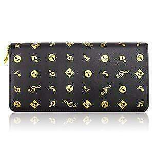 Music Themed Long Lady Purse with Gold Music Notes