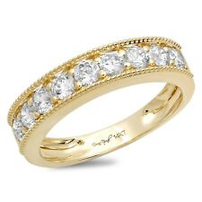 1.2ct Round Cut Designer Promise Bridal Wedding Anniversary Band 14k Yellow Gold