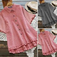 UK Womens Ruffles Short Sleeve Collared Butto Down Shirt Check Casual Top Blouse