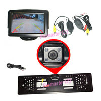 "Funk Rückfahrkamera 170° 4 IR LED Nachtsicht Nummernschild+4,3"" Auto Monitor"