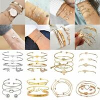 Bohemia Women Stainless Steel Lots Style Cuff Open Bracelet Bangle Chain Sets