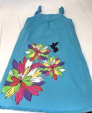 Hanna Andersson 150 Sleeveless Aqua Blue Dress EUC Flowers and Hummingbird